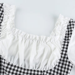 CHECK STITCHING RUFFLE FAKE TWO-PIECE PUFF SLEEVE TOP
