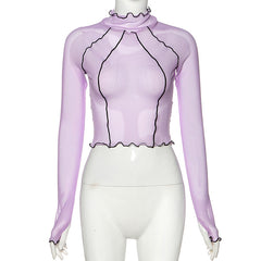 PURPLE FRILL GLOVES SLEEVE MESH TOP