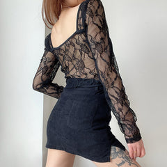 MESH LACE SEE THROUGH LONG SLEEVE T-SHIRT