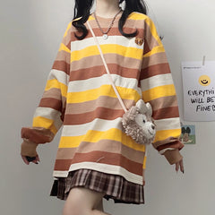 BEAR EMBROIDERED CONTRAST STRIPED PULLOVER SWEATER