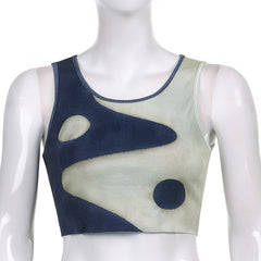 CONTRAST COLOR TAI CHI PRINT TANK TOP
