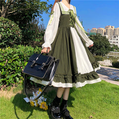 LOLITA CONTRAST COLOR WOODEN EAR DRESS