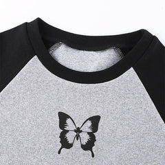 CONTRAST BUTTERFLY PRINT CROP TOP