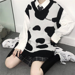 V-NECK COW PRINT  KNIT VEST