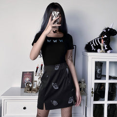 REFLECTIVE BUTTERFLY SPLIT SKIRT