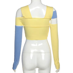 PATCHWORK SPLICED CROP TOP WITH SLEEVES