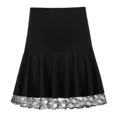 LACE STITCHING HIGH WAIST SKIRT