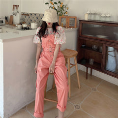 FLOWER PUFF SLEEVE TOP OR PINK OVERALLS