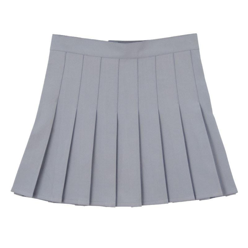 GRAY PLEATED SKIRT