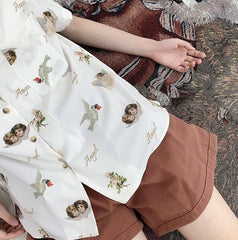 ANGEL PRINT SHORT SLEEVE CHIFFON SHIRT