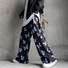 HIP HOP BUTTERFLY PRINT WIDE LEG PANTS