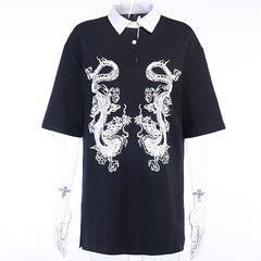 DRAGON PRINT POLO COLLAR SHIRT DRESS