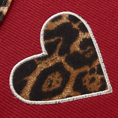LEOPARD HEART EMBROIDERED CONTRAST CROP TOP