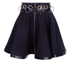 O RING HOLLOW STITCHING ZIPPER SKIRT