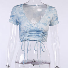 TIE DYE SIDE DRAWSTRING CROP TOP