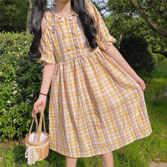 CONTRAST COLOR PLAID DOLL COLLAR MIDI DRESS