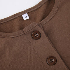 BROWN SINGLE BREASTED LONG SLEEVE CARDIGAN TOP