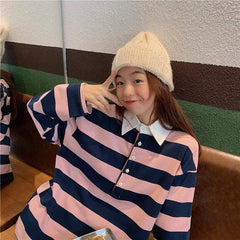 VINTAGE LAPEL STRIPED LONG SLEEVE TOP