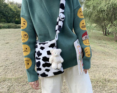 COW PATTERN PLUSH BAG