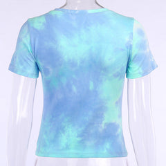 BLUE TIE DYE BUTTERFLY CROP TOP