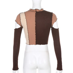 HOLLOW STITCHING CONTRAST LONG SLEEVE TOP