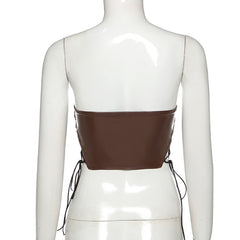 IRREGULAR LACE-UP SLIM LEATHER TUBE TOP