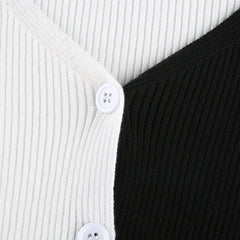 B&W SPLICE CARDIGAN TOP
