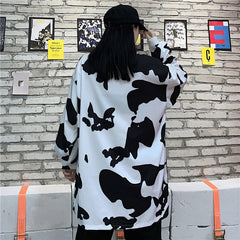 COW PRINT LONG SLEEVE SHIRT