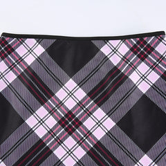 PLAID PENCIL MINI SKIRT
