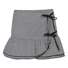 HOUNDSTOOTH IRREGULAR SKIRT