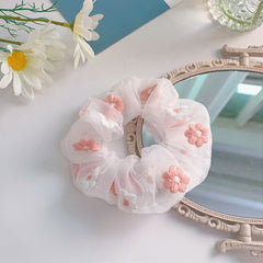 FLOWER EMBROIDERED MESH SCRUNCHIES (2 PCS)