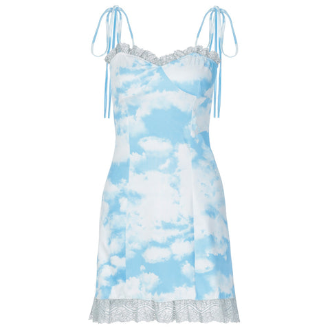 BLUE SKY AND WHITE CLOUDS LACE TRIM SLING DRESS