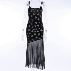 LACE STITCHING BUTTERFLY VELVET SLING DRESS