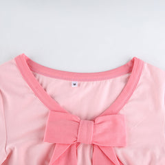 PINK BOW LONG SLEEVE TOP