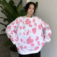 COW PRINT LOOSE CREW NECK SWEATER