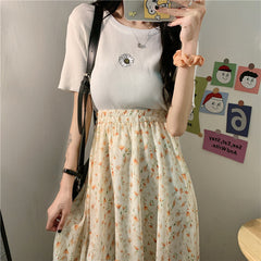 KOREAN FLORAL PRINT MIDI SKIRT