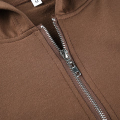 BROWN ZIPPER CROPPED HOODED SWEATSHIRT