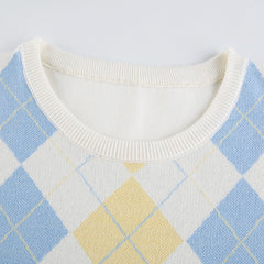 DIAMOND CHECK PULLOVER SWEATER