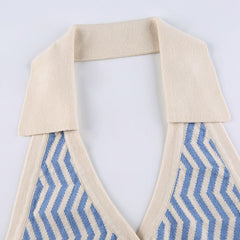 WAVY STRIPED DEEP V HALTER VEST