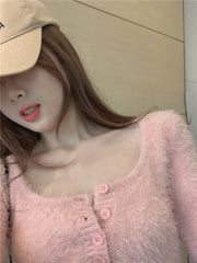 PINK BUTTON SLIM LONG SLEEVE FUR TOP