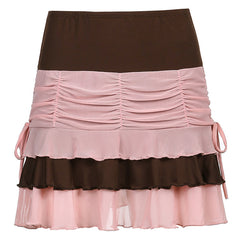 COLOR BLOCK MULTI-LAYER PLEATED SKIRT