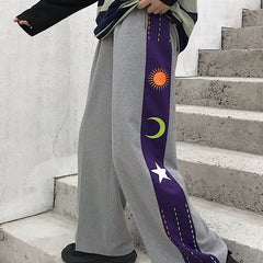 SUN MOON STAR PRINT WIDE LEG PANTS
