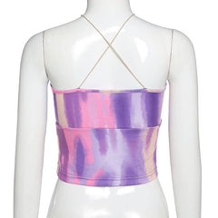 PINK PURPLE RUCH STRAP CROP VEST