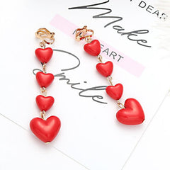 RED HEART TASSEL EARRINGS