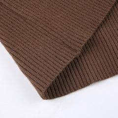 BROWN BREASTED V-NECK CARDIGAN TOP