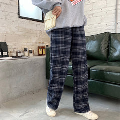 WOOLEN PLAID WIDE LEG PANTS