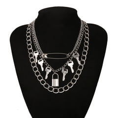 PIN LOCK KEY PENDANT THICK CHAIN NECKLACE