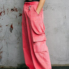 PINK CORDUROY HIGH WAIST STRAIGHT PANTS