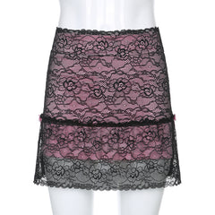HOLLOW FLORAL LACE BOW SKIRT