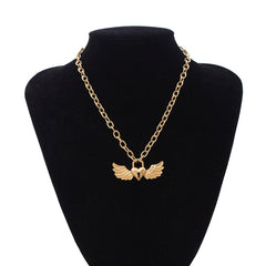 HEART WING OPENWORK LOCK NECKLACE